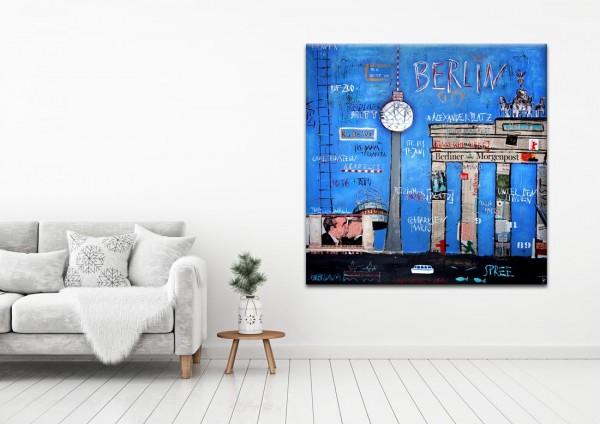 Kathrin Thiede Brandenburger Tor blau Collage Bild auf Leinwand