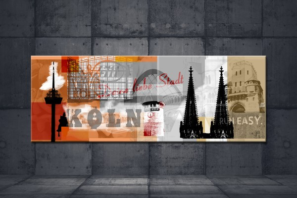 Leinwandbild Deine liebe Stadt Lang orange braun