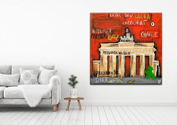 Kathrin Thiede Brandenburger Tor II rot Collage Bild auf Leinwand