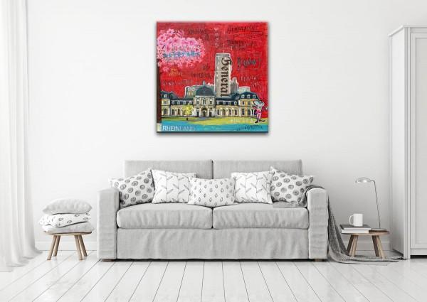 Kathrin Thiede Bonn III rot Collage Bild auf Leinwand