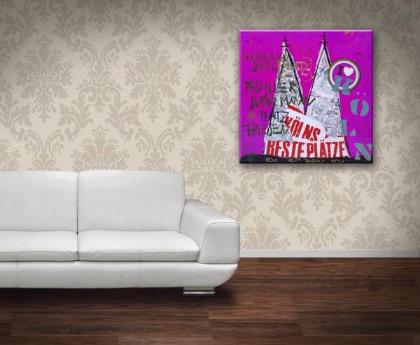 Kathrin Thiede  Beste Plätze pink Collage Bild auf Leinwand