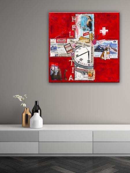 Kathrin Thiede Schweiz I Collage Bild auf Leinwand