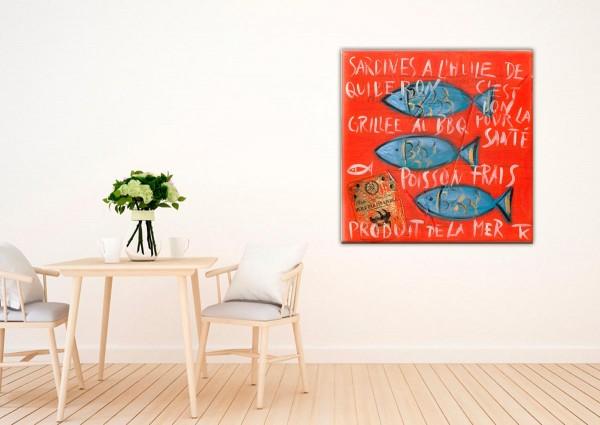 Kathrin Thiede Sardinen II rot Collage Bild auf Leinwand