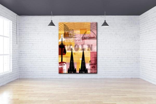 Collage Deine Liebe Stadt III gelb rosa Bild auf Leinwand