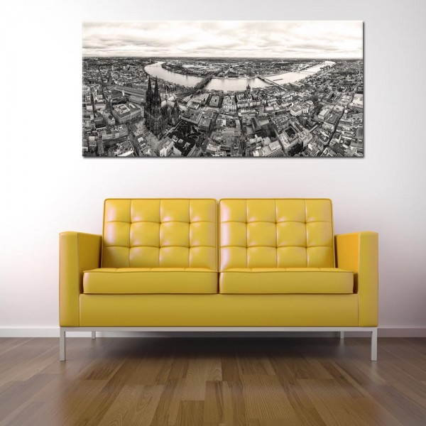 Leinwandbild Köln  Panorama schwarz weiß 301 von Wolfgang Weber