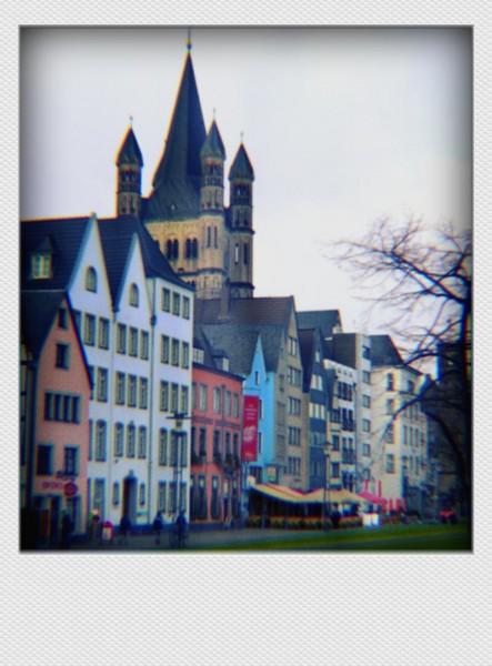 Köln Mini Polaroid Altstadt auf MDF