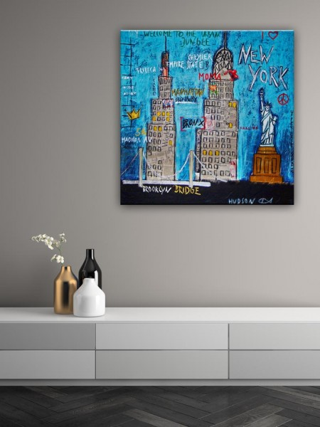 Kathrin Thiede New York II Collage Bild auf Leinwand