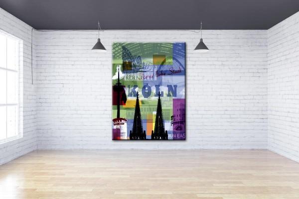 Collage Deine Liebe Stadt IV grün violett Bild auf Leinwand