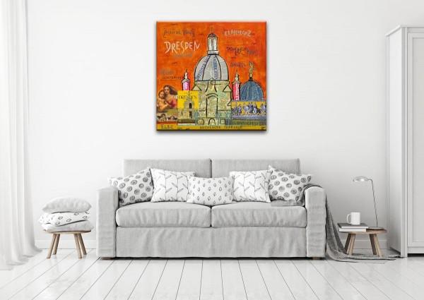 Kathrin Thiede Dresden orange Collage Bild auf Leinwand