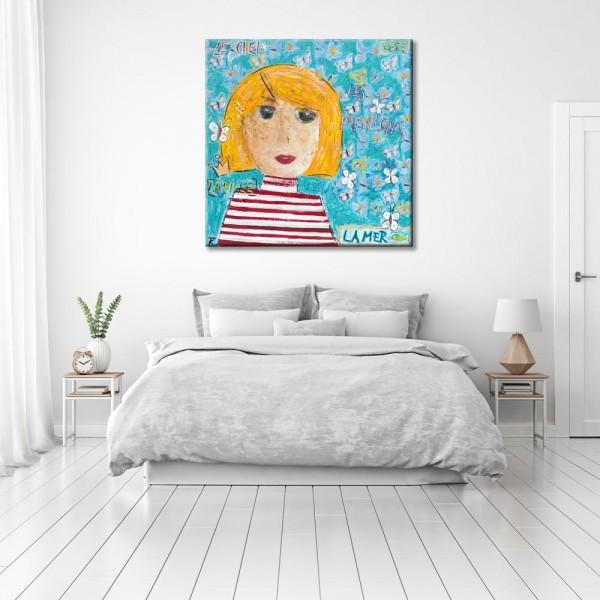 Kathrin Thiede Mädchen I Collage Bild auf Leinwand