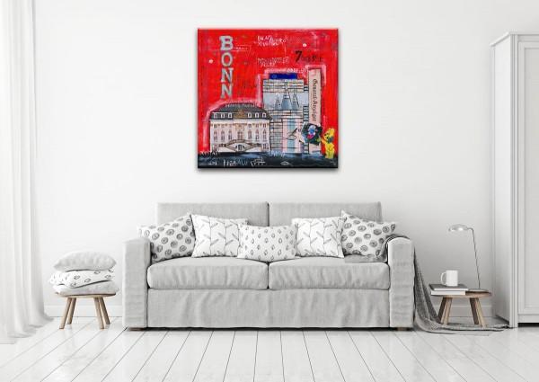 Kathrin Thiede Bonn I rot Collage Bild auf Leinwand
