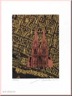 Henry Haselwanger Kupfer Dom auf Stadtstich Gold Auflage 30