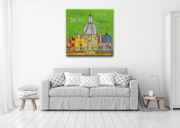 Kathrin Thiede Dresden grün Collage Bild auf Leinwand