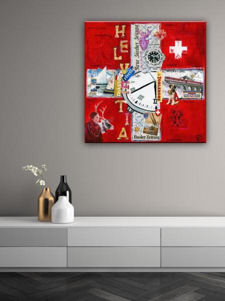 Kathrin Thiede Schweiz II Collage Bild auf Leinwand