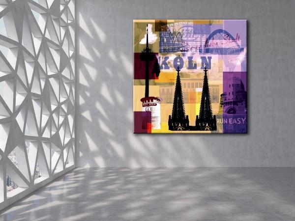 Collage Deine Liebe Stadt II gelb braun violett Bild auf Leinwand