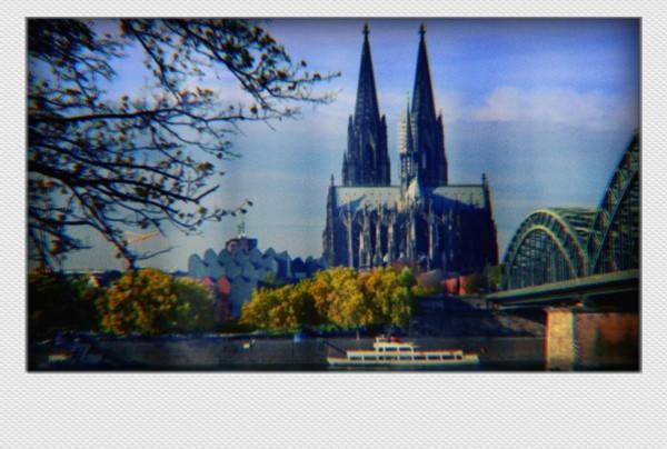 Köln Mini Polaroid Dom und Brücke auf MDF