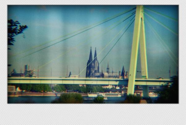 Köln Mini Polaroid Severinsbrücke auf MDF