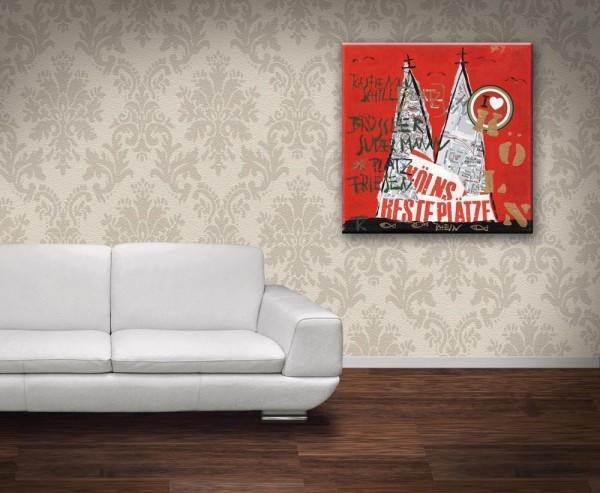 Kathrin Thiede  Beste Plätze rot Collage Bild auf Leinwand