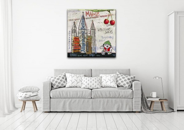 Kathrin Thiede Mainz grau Collage Bild auf Leinwand