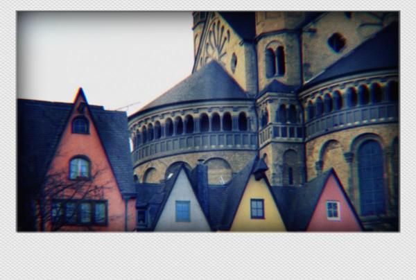 Köln Mini Polaroid Altstadt II auf MDF
