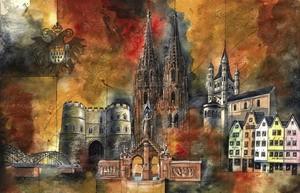 Wahrzeichen Kölns 2, M.Remus 21x29.7cm (A4)