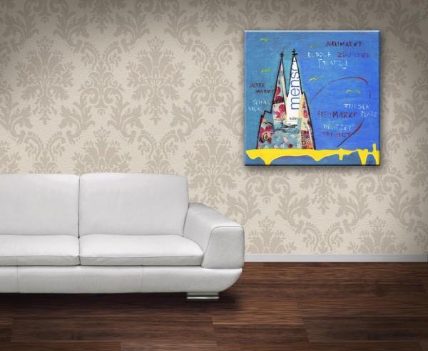 Kathrin Thiede Bekannte Plätze in Köln blau Collage Bild auf Leinwand