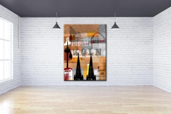 Collage Deine Liebe Stadt IV orange Bild auf Leinwand