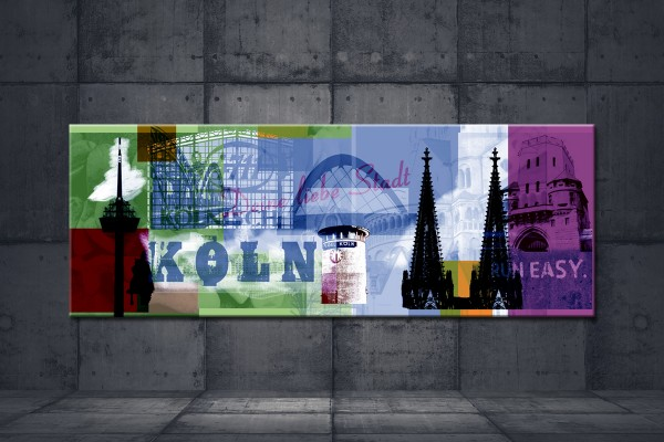Leinwandbild Köln Deine liebe Stadt Lang grün violett