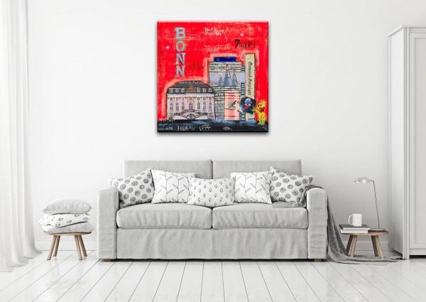Kathrin Thiede Bonn I orange-rot Collage Bild auf Leinwand