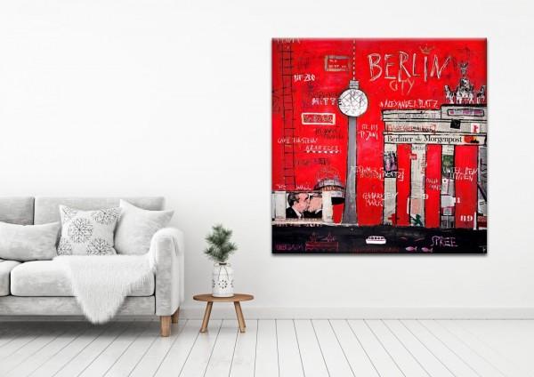 Kathrin Thiede Brandenburger Tor rot Collage Bild auf Leinwand