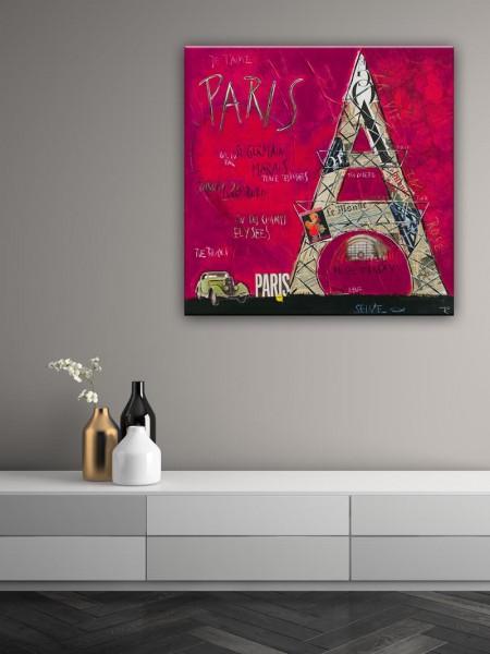 Kathrin Thiede Paris III pink Collage Bild auf Leinwand