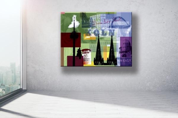 Collage Deine Liebe Stadt III grün violett Bild auf Leinwand