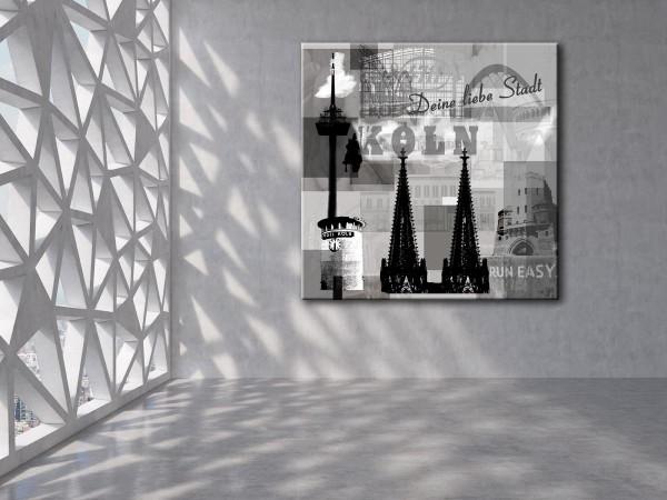 Collage Deine Liebe Stadt II grau Bild auf Leinwand
