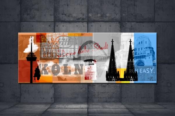 Leinwandbild Deine liebe Stadt Lang orange blau