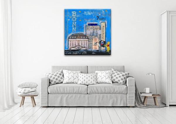 Kathrin Thiede Bonn I blau Collage Bild auf Leinwand