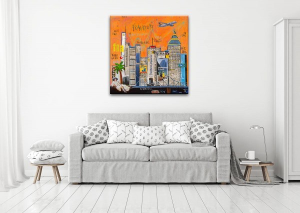 Kathrin Thiede Frankfurt orange Collage Bild auf Leinwand