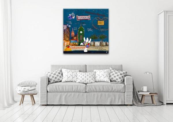Kathrin Thiede Hannover blau Collage Bild auf Leinwand
