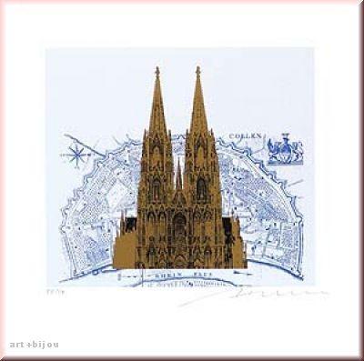 Henry Haselwanger Kupfer Gold auf Stadtstich Blau Auflage 50