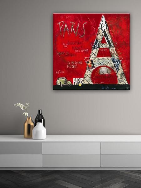 Kathrin Thiede Paris III rot Collage Bild auf Leinwand
