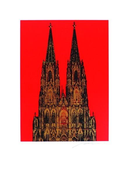 Henry Haselwanger Dom Schwarz Gold auf Rot Format 60x80 handsigniert
