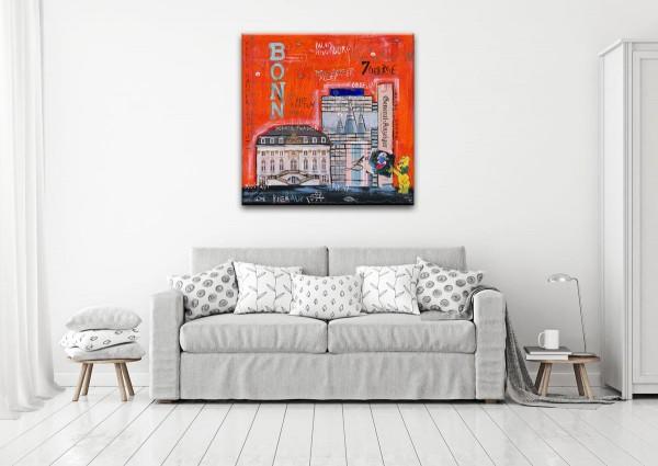 Kathrin Thiede Bonn I orange Collage Bild auf Leinwand